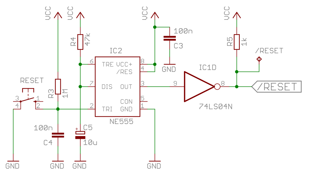 Homecomputer 6502 Reset Schematic