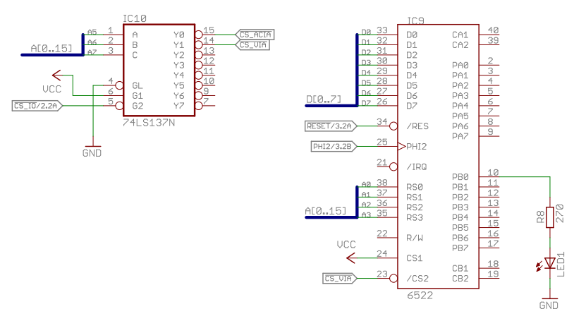 6502 Home Computer - VIA (Ports and Timers): Blinking LED